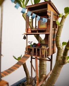 An incurable dreamer – that's what the artist Jedediah Corwyn Voltz calls himself. He created this wondrous miniature treehouses out of little pieces of wood, wool, miniature artworks and smallest furniture.They gently nestle to potted plants and bonsai trees. If you move closer, they invite you to a short break in the parallel universe. With precisely worked windmills, ladders, window shutters and blinds, handrails, sun sails, swinging tires and all sorts of everyday objects Jedediah lets…