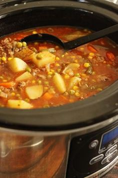 Crock pot beef and veggie soup. No corn or peas if Whole 30, but add other veggies! Use compliant broth:) and tomato sauce