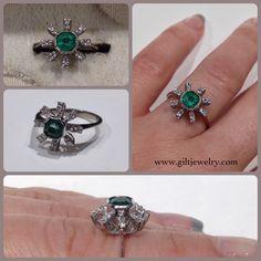 Atomic Era c1960 emerald & diamond 14k ring at $595. #giltjewelry #vintage #1960 #gold #emerald #green #atomicera #mod #fabulous