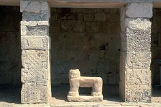 Pic 8: Jaguar throne at the base of the 'Temple of the Jaguars' at the Postclassic Maya city of Chichen-Itza in the Yucatan, Mexico