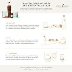 Elevate your daily health with the Life Essentials 1 Kit! This kit is filled with naturally derived, carefully crafted products to help support your digestive health. Check out this infographic for tips and tricks on how to start your day off right with NingXia Red and Essentialzyme, enhance lunch with a cool, minty pep using Peppermint Vitality essential oil, and end the day for optimal health with ICP Daily! #health #wellness #youngliving #yleo Cancer Screening Tests, Ningxia Red, Sports Therapy, Alcohol Is A Drug, Exercise Ball, Spiritual Health, Young Living Essential Oils, Total Body, Personal Trainer
