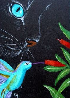 """Cat with Hummingbird"" par Cyra R. Cancel"