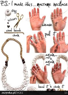 DIY necklace - finger knitting!