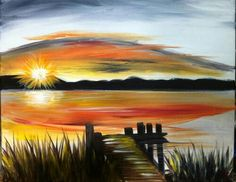 Special sunset at the end of the pier painting idea. Wine and Canvas