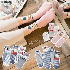 Frauen Socken Fun Socken Cartoon Print Cotton Socken Lovely cute Casual RA