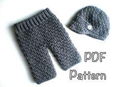 PATTERN: Baby Boy Longies and Newsie Hat Set, Easy Crochet PDF, Newborn, Instant DigiTaL DoWnLoaD, Pants, Beanie, Permission to Sell