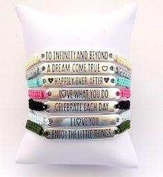Braided macrame bracelets - inspirational quote bracelet - friendship bracelet - dainty delicate bracelet - best friends gift - boho jewelry door HipLikeMe op Etsy https://www.etsy.com/nl/listing/286095765/braided-macrame-bracelets-inspirational