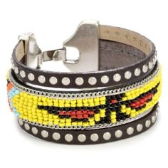 """Streets Ahead 1 1/4"""" Beaded with Brown Studded Leather Trim Cuff Bracelet"""