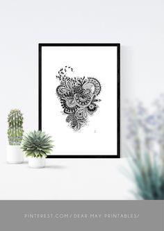 Mandala Wall Art No. 3 ⋆ Mandala Print ⋆ Black and White Print ⋆ Wall Decor ⋆ Boho Chic ⋆ Minimalist Design ⋆ Digital Download ⋆ Printable ⋆ Dear May Printables Mandala Printable, Wall Decor, Wall Art, As You Like, Minimalist Design, Wall Prints, Boho Decor, Decorating Your Home, Boho Chic