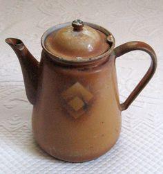 Vintage Rustic ENAMEL COFFEE  POT 1920s by vintagous on Etsy, $35.00