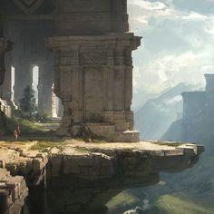Ruin Land II, Robby Johnson on ArtStation at https://www.artstation.com/artwork/84m46