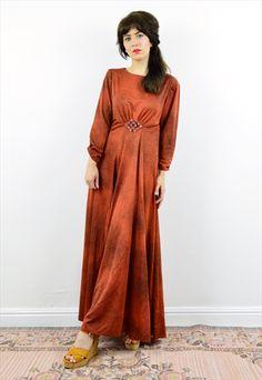 70S BURNT ORANGE BOHO EMPIRE MAXI DRESS
