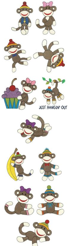 """""""Sweet Sock Monkeys ~ Filled"""" You'll love this fun set of 12 sock   monkeys, one which includes the words 'Just Hangin Out'. Super fun for   quilts, kids gear and clothes too! Swing on over to get yours today!"""