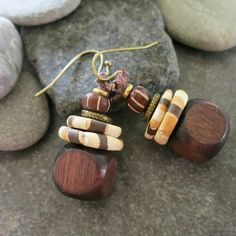 Rustic Earth Tone Earrings Handmade With Recycled Reused Beads And Buttons Button Earrings, Beaded Earrings, Earrings Handmade, Stud Earrings, Rustic Ceramics, Shank Button, How To Make Earrings, Earth Tones, Glass Beads