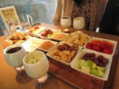 früchte und gemüse als fondue beilagen
