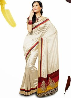 Fancy Look Cream Saree  Check out this page now :-http://www.ethnicwholesaler.com/sarees-saris/georgette-sarees