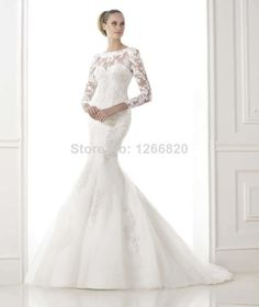 custom Made 2015 New Fashion Mermaid Long Sleeve Lace Sexy Wedding Gowns vestido de noiva Wedding Dresses Free Shipping  $229.00