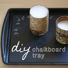 A quirky little DIY! Repurpose a baking sheet into a new chalkboard serving tray!