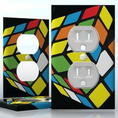 DIY Do It Yourself Home Decor - Easy to apply wall plate wraps | Logic Game  Colorful cube  wallplate skin sticker for 1 Gang Wall Socket Duplex Receptacle | On SALE now only $3.95