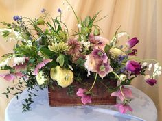 Early Spring Vintage Box Centerpiece