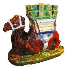 Majolica camel covered tobacco jar