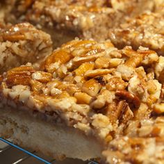 bourbon pecan bars - the crust is shortbread.....INCREDIBLY amazing for a non-chocolate dessert.