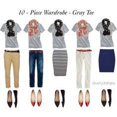 """10 - Piece Wardrobe - Gray Tee"" by bluehydrangea on Polyvore - Picmia"