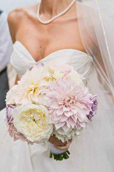 Posh Wedding Bouquet: White Cabbage Roses + Blush Dahlias + Lavender Roses