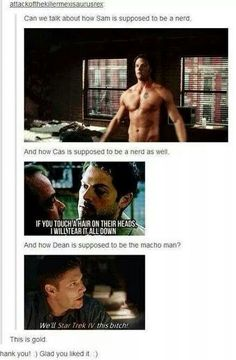 If Dean Winchester hadn't already stole my heart...that line would have sealed the deal for sure.