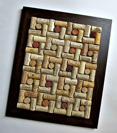 Wine Cork Board with Brown Frame by LizzieJoeDesigns on Etsy