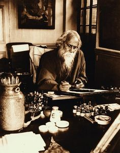 """salvaricade62:  photography … Rabindranath Tagore at his painting desk, Government School of Art, Calcutta (Kolkata), 1932 (India). Rabindranath Tagore: http://en.wikipedia.org/wiki/Rabindranath_Tagore * Quote from Rabindranat Tagore, I received of Yvette: """"Death is not extinguishing the light; it is only putting out the lamp because the dawn has come"""" … Yvette (Yente/Yeva) ~ http://user.adme.in/blog/browse/u/yeva Thank you Yvette!"""