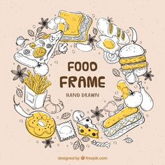 Hand drawn delicious food frame Free Vec... | Free Vector #Freepik #freevector #frame #food #hand #template Menu Illustration, Food Illustrations, Bakery Shop Interior, Food Places, Queso, Delicious Food, Free Design, Hand Drawn, Vector Free