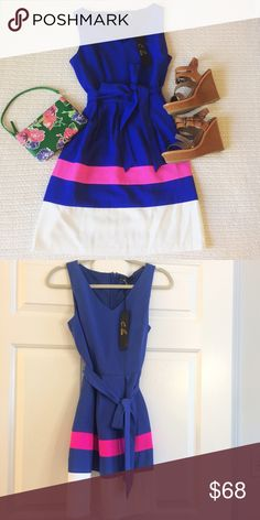 Colorblock Waist-tie Dress Gorgeous electric blue, hot pink, and white colorblock dress with a self-tie waist from Current Boutique in D.C. Perfect for a cocktail party or professional occasion! Never worn and NWT Dresses Midi