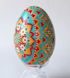Goose Egg Pysanka turquoise and red by UkrainianEasterEggs on Etsy