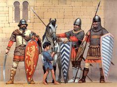 • Byzantine soldier, c. 1295 • Epirote Byzantine soldier, 14th century • Byzantine or Bulgarian infantryman, c. 1350