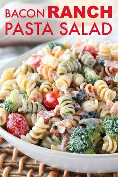 Quick and easy this Bacon Ranch Pasta Salad features rotini pasta crispy bacon cheddar broccoli and more coated in perfectly creamy Ranch dressing! Salad Recipes For Dinner, Dinner Salads, Pasta Salad Recipes, Easy Bacon Ranch Pasta Salad Recipe, Potluck Recipes, Drink Recipes, Pasta Dishes, Food Dishes, Molho Ranch