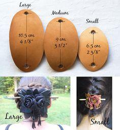 De cuero barrette del pelo del palillo por MyFunnySquirrel en Etsy