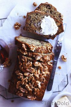 Bourbon Vanilla Banana Bread with Candied Walnuts