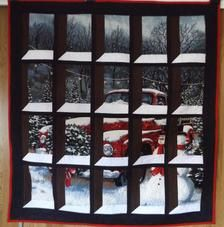 Christmas Truck, Christmas Sewing, Red Christmas, Christmas Crafts, Attic Window Quilts, Etsy Cards, Holiday Images, Window Design, Cool Fabric