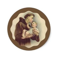 Anthony of Padua Baby Jesus Classic Round Sticker - baby gifts child new born gift idea diy cyo special unique design Mary Jesus Mother, Mary And Jesus, Newborn Gifts, Baby Gifts, Oracion A San Antonio, Winning Lottery Numbers, Saint Anthony Of Padua, Retro Ideas, Baby Jesus