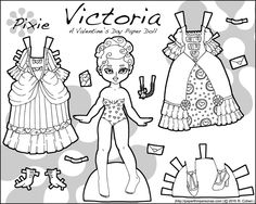Victoria, a Valentine's Day printable paper doll in black and white for coloring