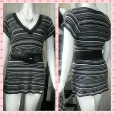 DOTS STYLUS SHELL was! $16.00 now! $12.00 Dots fashion top Color : gray, black, white Size: medium Has black belt Tops Tees - Short Sleeve