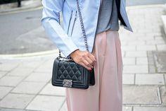 Pastel biker jacket, culottes, basic t-shirt, Chanel Boy Bag London Street style Fashion Blogger EJ Style