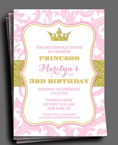 5th birthday party invitation wording party ideas for kids princess party invitation or printed with free by thatpartychick filmwisefo