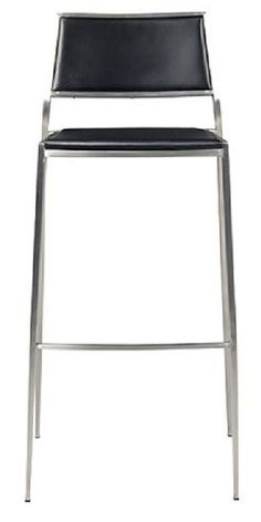 Stackable, resilient, and classy in all its stainless steel and black leather glory -- everything you need in extra seating for the dining or game room! | Marcel Bar Stool cort.com