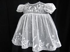 embroidered net lace baby dress ... c. 1915