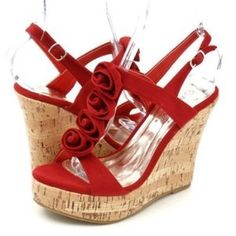 Cheap : Roses! Cork Platform Wedge Heels RED Women's review at Kaboodle