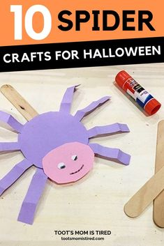 10 Spider Crafts for Halloween for Toddlers and Preschoolers. Easy Halloween Crafts for kids featuring spiders. Video tutorials of Halloween Crafts for one year olds, two year olds, three year olds, four year olds. Halloween Crafts For Toddlers, Easy Toddler Crafts, Toddler Preschool, Halloween Kids, Preschool Halloween, Toddler Art, Halloween Stuff, Toddler Activities, Craft Activities