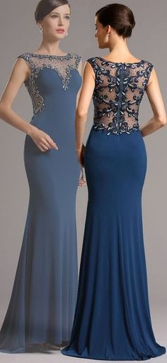 Blue Formal Gown with Beaded Illusion Back
