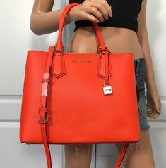 33af3a845948 NWT Michael Kors Large Leather Satchel Handbag Orange Shoulder Bag